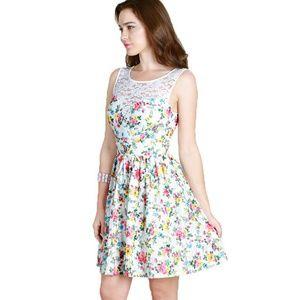 Garden Floral Fit & Flare Dress w Lace Panel -Sz S